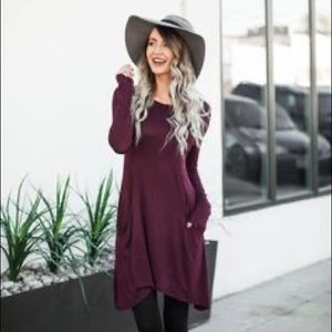 ATM Merlot Cotton Dress Tunic